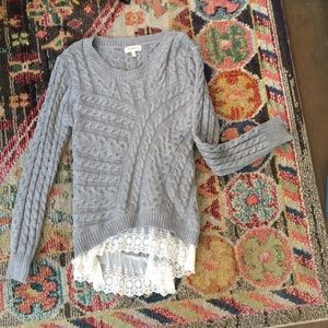 Knit and lace sweater